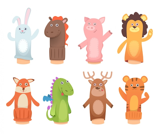 Cartoon animal puppets set