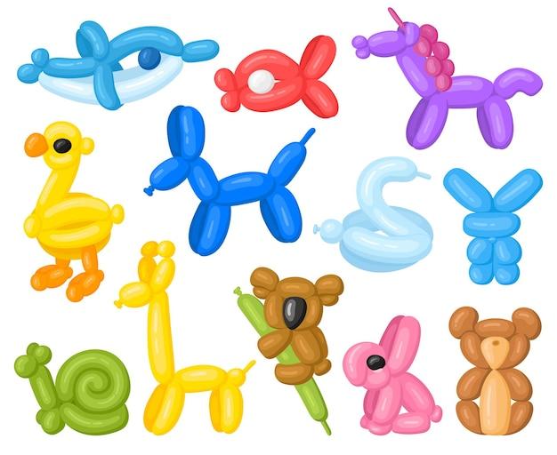 漫画の動物の形をしたヘリウムかわいい誕生日用風船。子供たちのパーティーユニコーン、コアラ、イルカの風船ベクトルイラストセット。動物の形をした風船