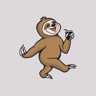 Мультяшный ленивец приносит напиток с милым логотипом талисмана