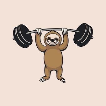 漫画の動物のナマケモノは、バーベルのかわいいマスコットのロゴを持ち上げています