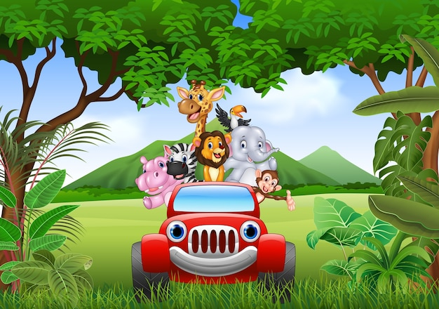 Cartoon animals africa in the red car