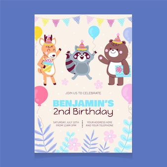 Modello dell'invito di compleanno degli animali del fumetto
