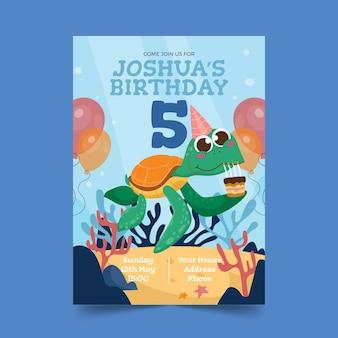 漫画の動物の誕生日の招待状