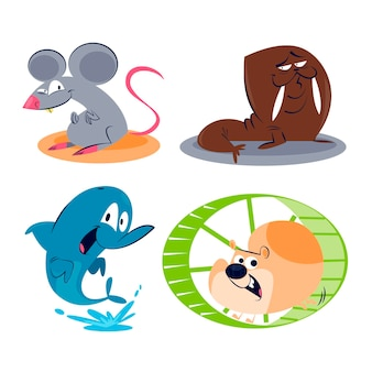 Cartoon animals collection Free Vector