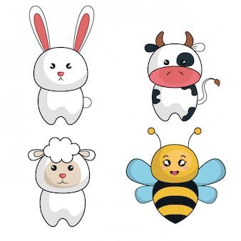 Cartoon animals cute design