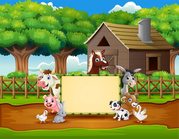 Cartoon animals farm with a blank sign