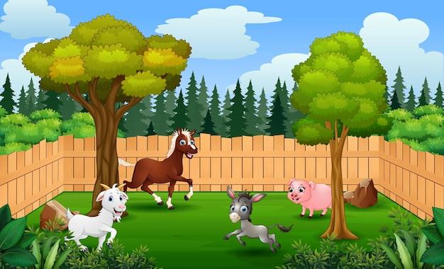 Cartoon animals farmer in the farm