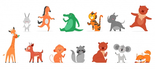 Cartoon animals flat illustrations. funny wild zoo animal characters smiling and waving, cute wildlife collection with hare rhino teddy bear giraffe deer monkey raccoon fox isolated on white