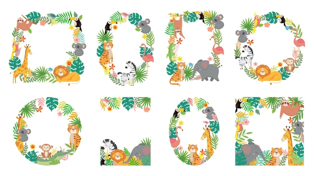 Cartoon animals frame. jungle animal in tropical leaves, cute frames with tiger, lion, giraffe and elephant illustration set.