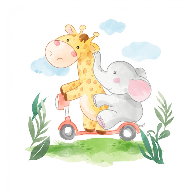 Cartoon animals friends riding scooter illustration