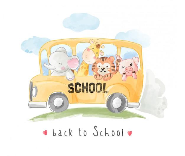 Cartoon animals friends on school bus illustration