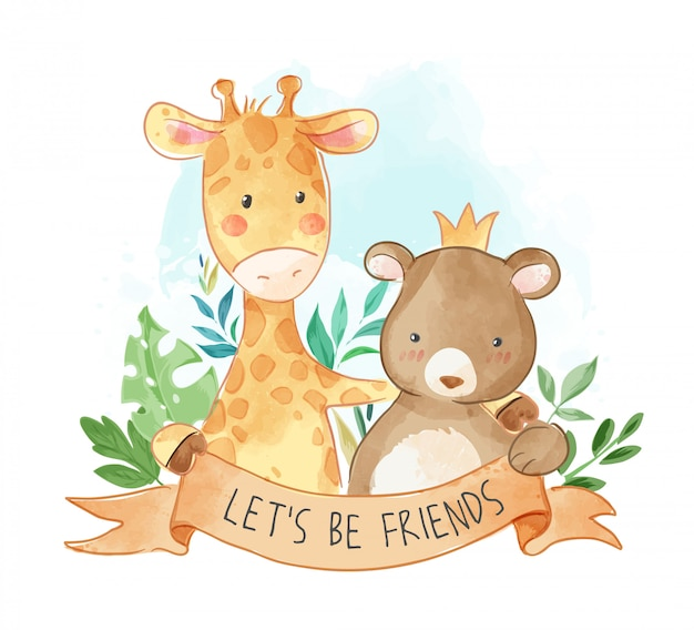 Cartoon animals friendship illustration