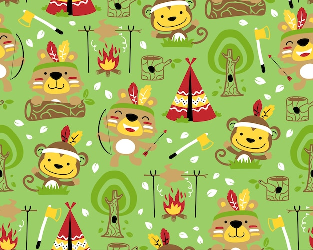 Cartoon of animals indian tribes on seamless pattern vector