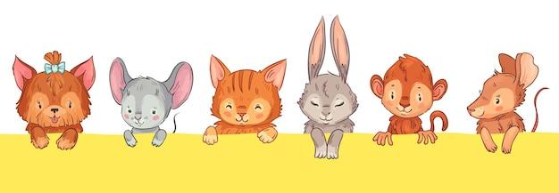 밖을 내다보는 만화 동물들. 활, 쥐, 고양이, 토끼, 원숭이, 쥐가 있는 귀여운 개. 웃긴 웃는 얼굴, 분홍색 뺨, 닫힌 눈 벡터 삽화가 있는 사랑스러운 털복숭이 애완동물 머리