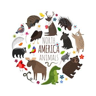 アメリカのバナーの漫画の動物