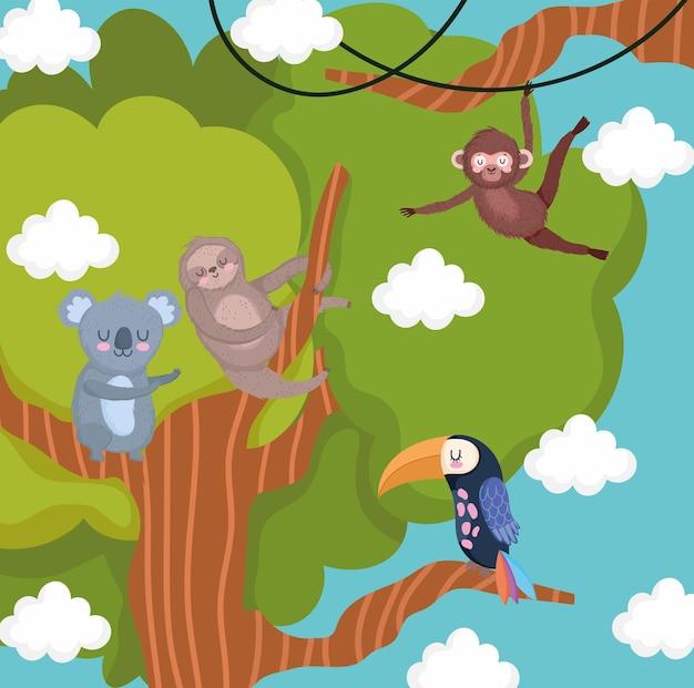 나뭇가지 나무에 만화 동물