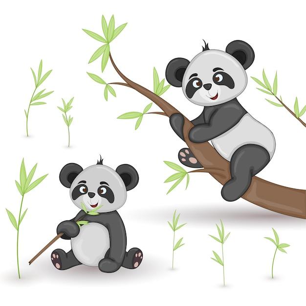 만화 동물 팬더.