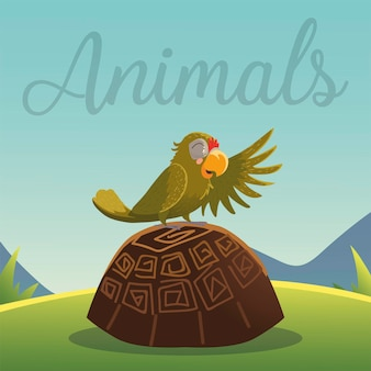 Cartoon animals parrot on the turtle in grass nature  illustration