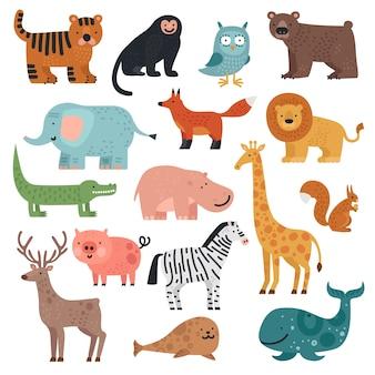 漫画の動物。虎、猿と熊、象とライオン、ワニと鹿、野ウサギの森と熱帯のかわいい動物のベクトルセット