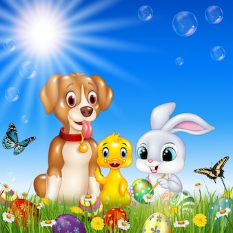 Cartoon animals with nature easter background