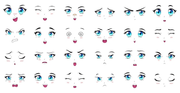 Глаза, брови и выражения рта героев мультфильмов аниме. женский персонаж манги сталкивается с набором векторных иллюстраций. аниме манга девушки выражения персонажей, мультяшное лицо эмоции