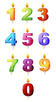 만화 기념일 숫자 촛불.