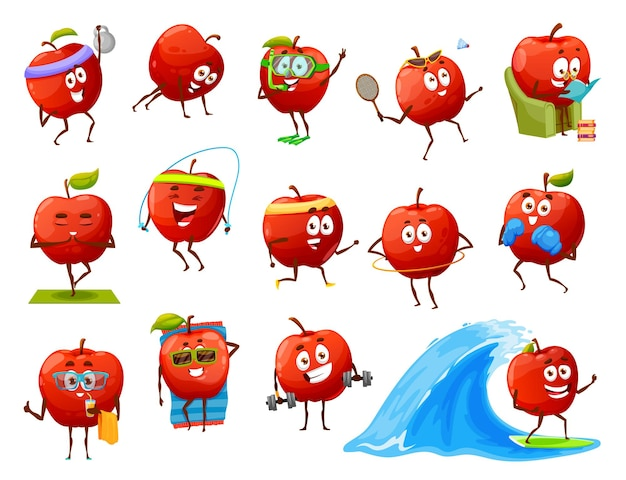 Cartoon apple fruit characters yoga, fitness or sport, travel and leisure recreation and activity. vector red funny apple workout in gym, tanning on beach, surfing on sea wave, red and drink cocktail