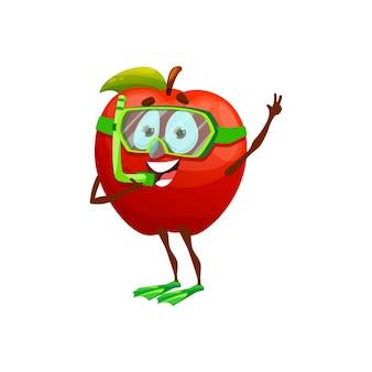 다이빙 마스크, 튜브, 오리발에 있는 만화 사과는 나머지 여름 과일 캐릭터를 고립시켰습니다. 벡터 재미있는 빨간 사과는 다이빙, 과일, 여행 및 야외 여가의 여름 휴가 휴가