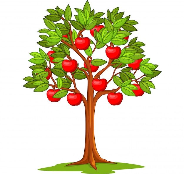 Cartoon apple tree isolated