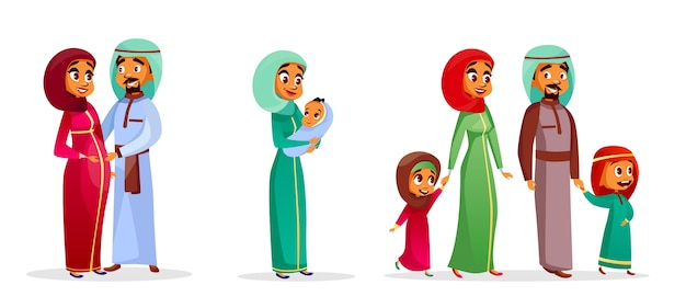 Cartoon arab family characters set. happy saudi, emirates muslim couple, man, woman