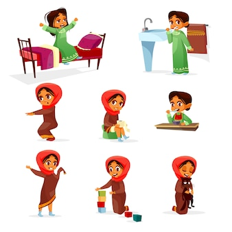 Cartoon arab girl morning routine activity set.