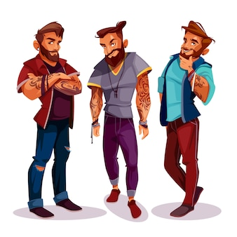 Cartoon arab hipsters - company of young people with tattoos, trendy clothing.