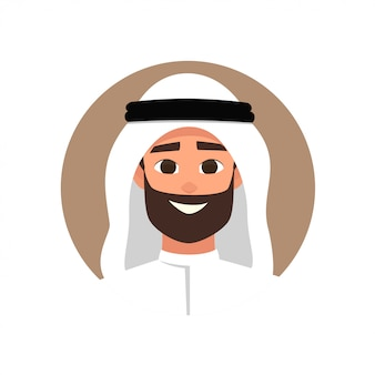 Cartoon arab man avatar with happy emotion