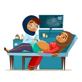 Concetto di screening di gravidanza ad ultrasuoni araba del fumetto. donna di medico khaliji musulmano
