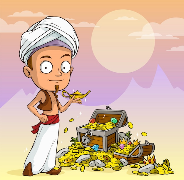 Cartoon arabian boy with lamp and treasure chest