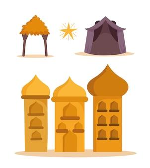 Cartoon arabian castle towers hut and star icons   illustration