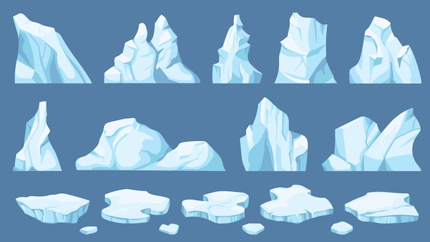 Cartoon arctic ice. icebergs, blue floes and ice crystals