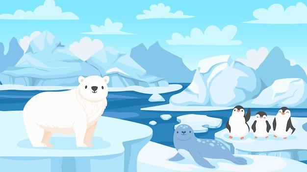 Cartoon arctic landscape with animals