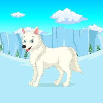 Мультяшный арктический волк стоит в зимнем лесу