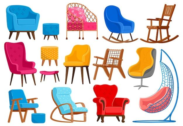 Cartoon armchairs. modern comfortable furniture, apartment interior or office armchairs illustration set
