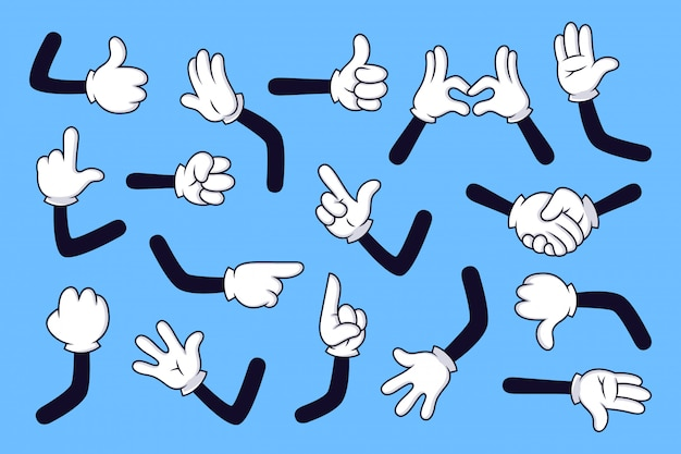 Cartoon arms. gloved hands with different gestures, various comic hands in white gloves  illustration set. collection of movements and signs on blue background. cartoon character gesture