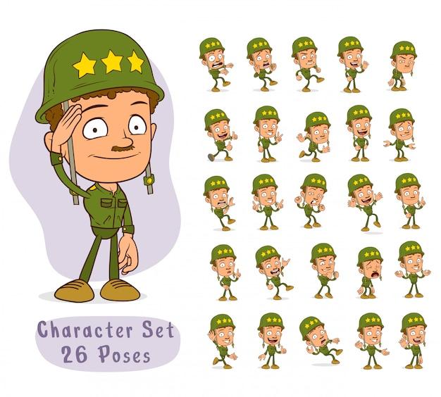 Cartoon army soldier boy big set for animation