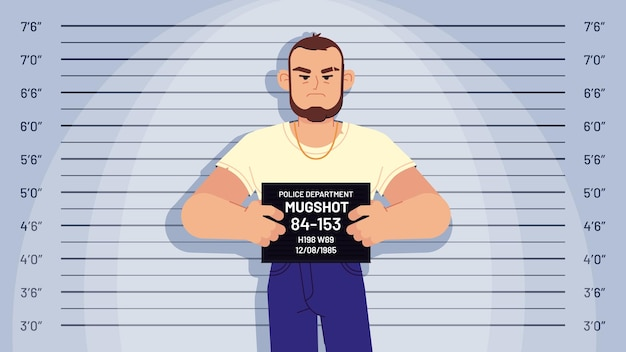 Cartoon arrested gangster mugshot