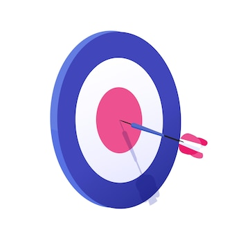 Cartoon arrow exactly on target vector graphic illustration. hitting goal, successful business strategy result isolated on white background. archery aim achievement at sport game and job.