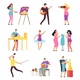 Cartoon artists and musicians isolated characters in creative artistic hobbies