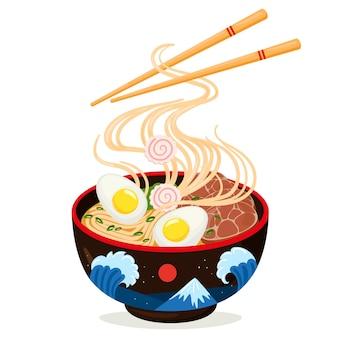 Мультфильм азиатская кухня вкусная лапша рамэн миска. традиционное японское блюдо, вкусный суп с рыбой, яйцом, водорослями и мясом векторные иллюстрации. азиатский суп с лапшой рамэн