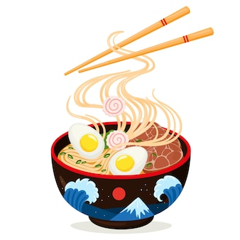 Cartoon asian cuisine delicious ramen noodles bowl. traditional japanese dish, delicious soup with fish, egg, seaweed and meat vector illustration. asian ramen noodle soup