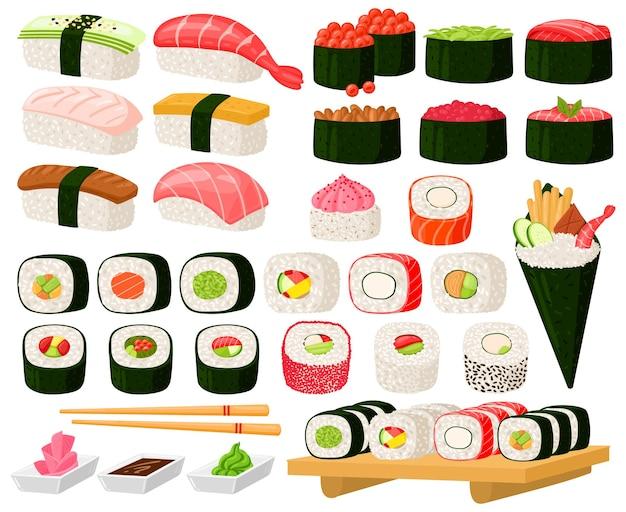 만화 아시아 요리 롤, 스시, 사시미 요리. 일본 동양 요리, 해초, 쌀, 생선, 고기 식사 벡터 삽화 세트. 야채와 함께 구색의 전통 스시 요리