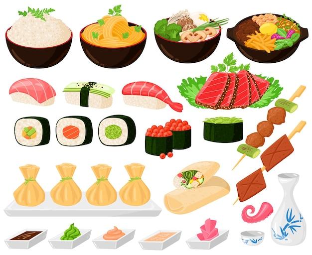 만화 아시아 전통 한국, 일본, 중국 음식. 아시아 길거리 음식, 국수 스시 사시미 라면 만두 벡터 삽화 세트. 동양 아시아 요리 요리