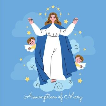 Illustrazione del fumetto di assunzione di maria